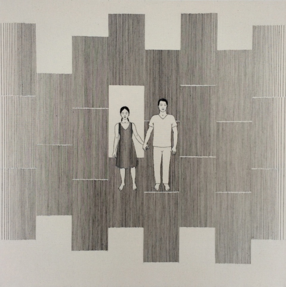 Gab Arte k2o art Bel Barcellos.Frontal 1.Série Entre linhas.desenho bordado sobre tela.60 x 60cm.2013,14