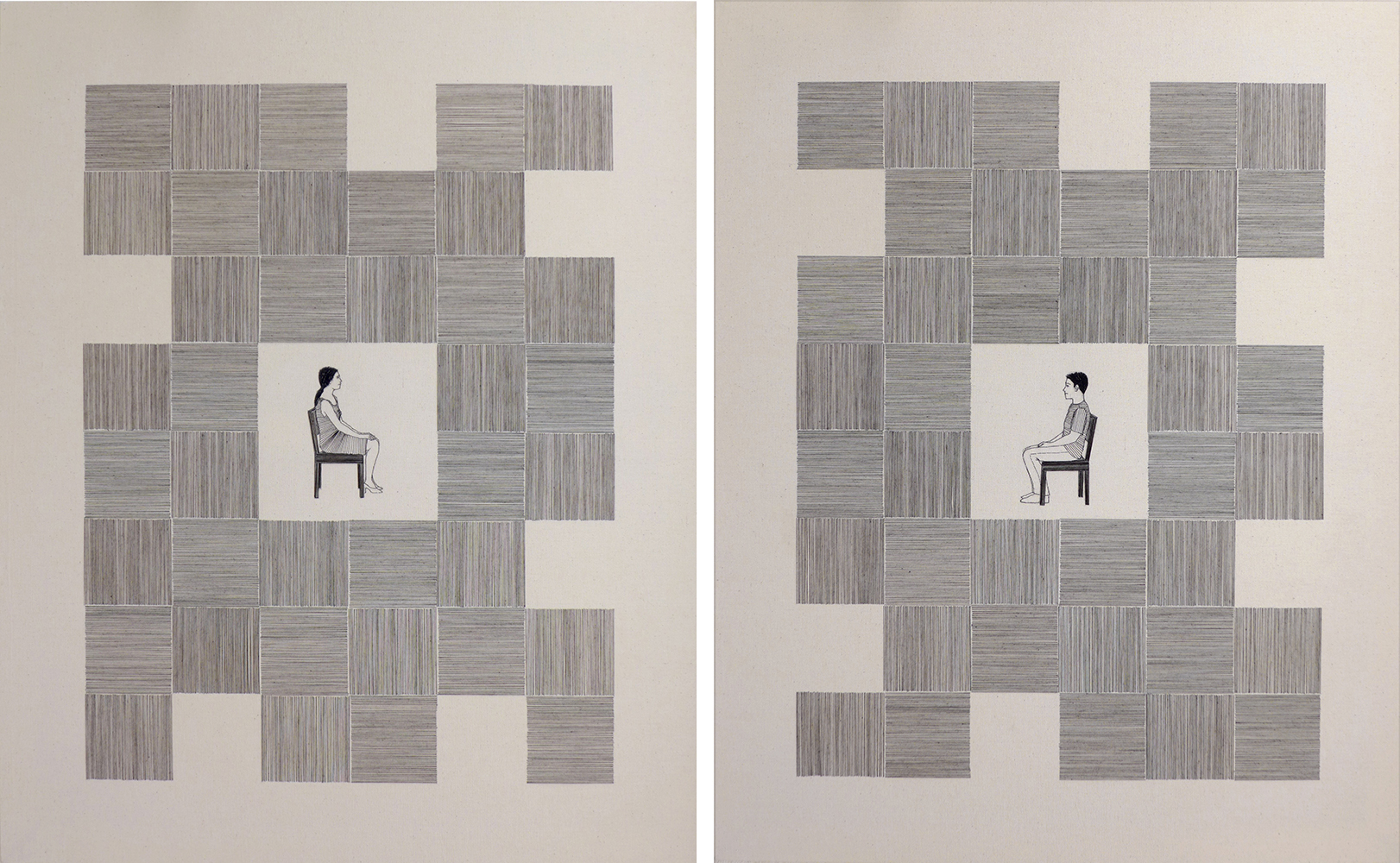 Gab Arte k2o art Bel Barcellos.Série Entre linhas (1 e 2 JUNTOS).desenho bordado sobre tecido.100 x 80cm.2016.ALTA