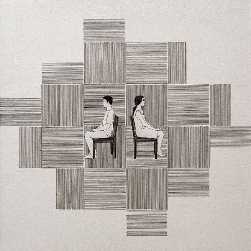 Gab Arte k2o art Bel Barcellos.Sem título (2).Série Entre linhas.desenho bordado sobre tela.60 x 60cm.2014