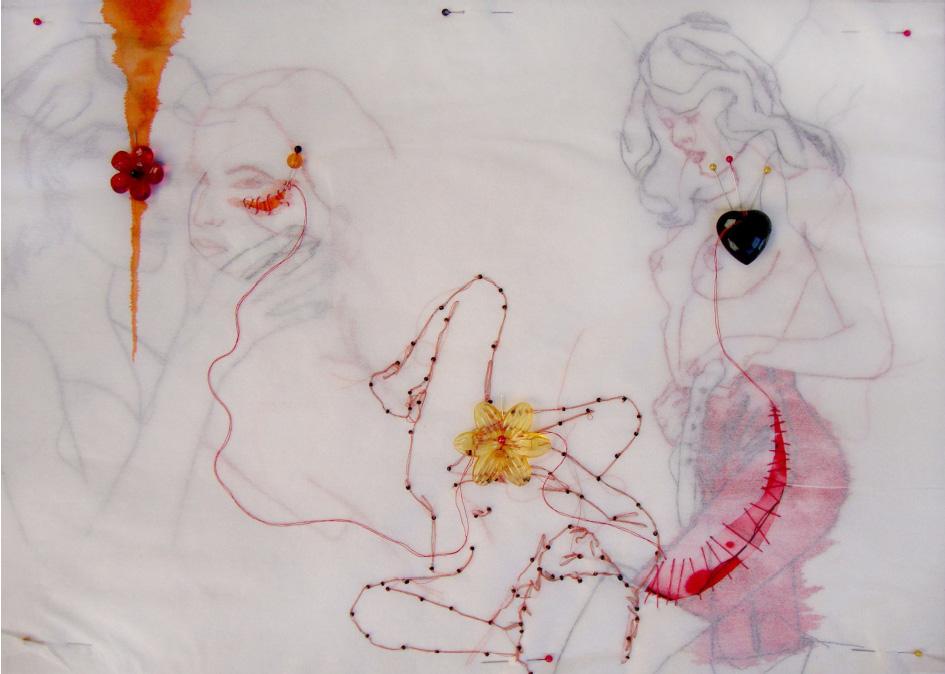 Gab Arte k2o art Rodrigo Mogiz.Entre o teu encanto.Bordados e tinta sobre entretela.36x50cm.2010