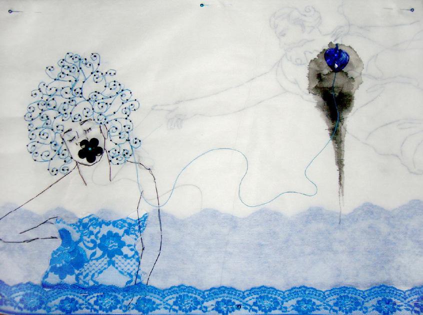 Gab Arte k2o art Rodrigo Mogiz.Oração de Anjo. Bordados, miçangas, tinha e renda sobre entretela.36x50cm.2012