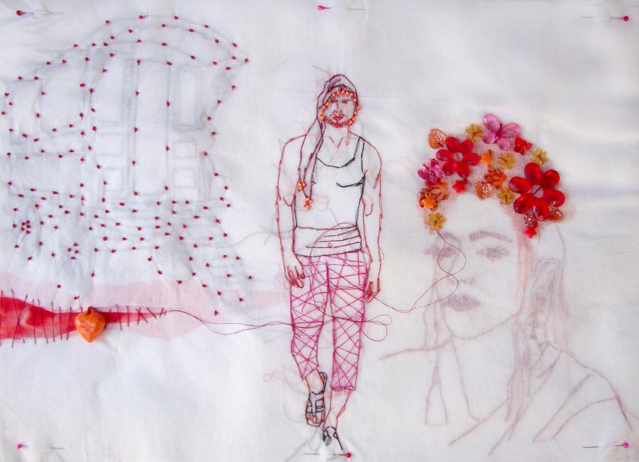 Gab Arte k2o art Rodrigo Mogiz.Sa o Roma. Bordados, miçangas, tinta e tecido sobre entretela.36x50cm.2012