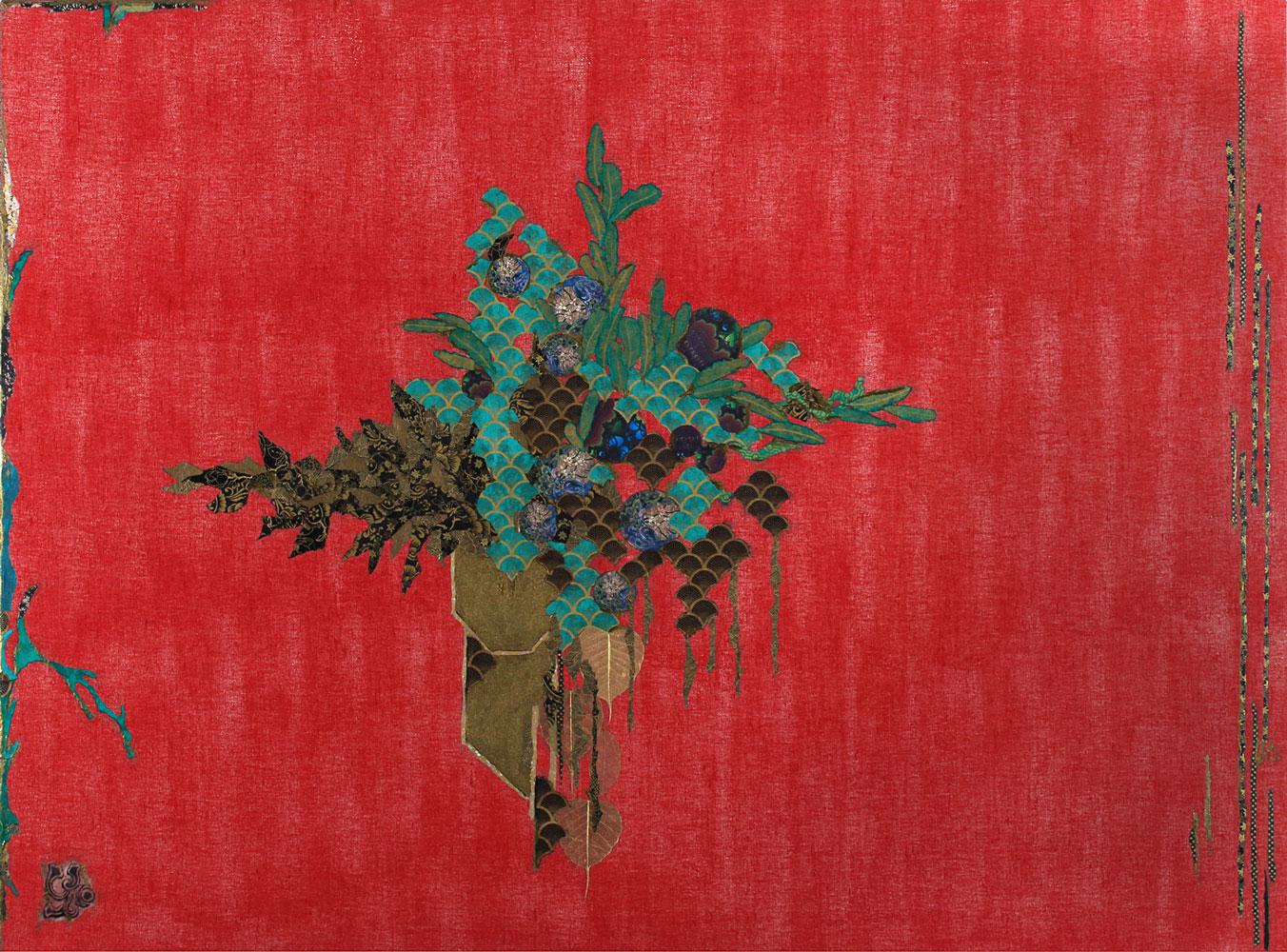 Gab Arte k2o art Cristina Sá(648)-_Festa_pintura e colagem com papel oriental sobre linho 1,30x1,86.Baixa
