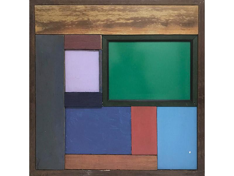 49. GaKO. art. José Ivacy. Construção com madeira. Assemblage, madeira pigmentada e recortada. 60x60x3,5 cm. 2016