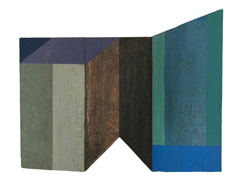 6. GaKO. art. José Ivacy. Paisagem concreta 1. Veladuras e cortes em madeira 30x30x03cm. 2010