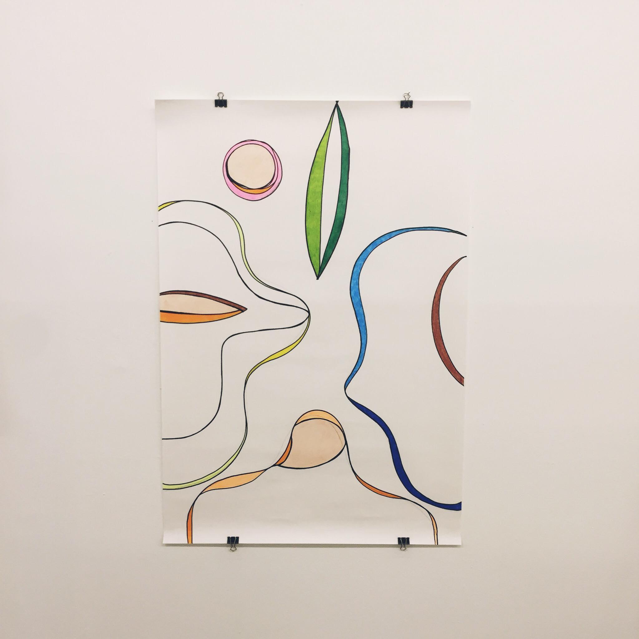 Guanabara I Serie Formas Contrassexuais Acrilica, grafite e giz de cera sobre fine face 95x65 2019