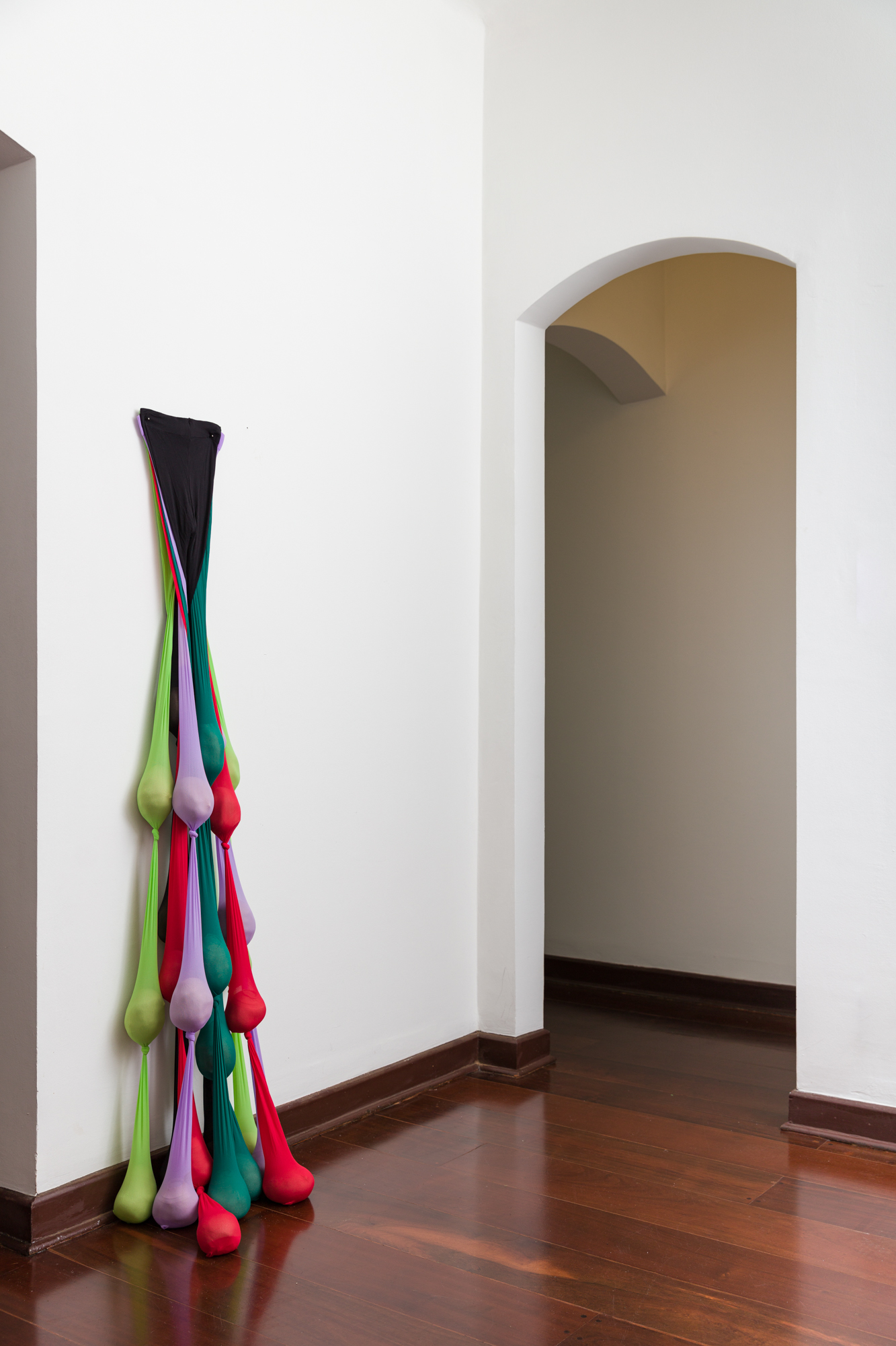 Maria Mijona, 2021. Série Moles. Nylon, areia, e prego. 168x65x28cm