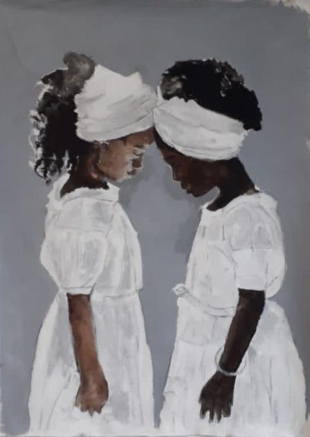 Meninas no terreiro. Acrílica sobre tela. 100 x 70 cm. 2020