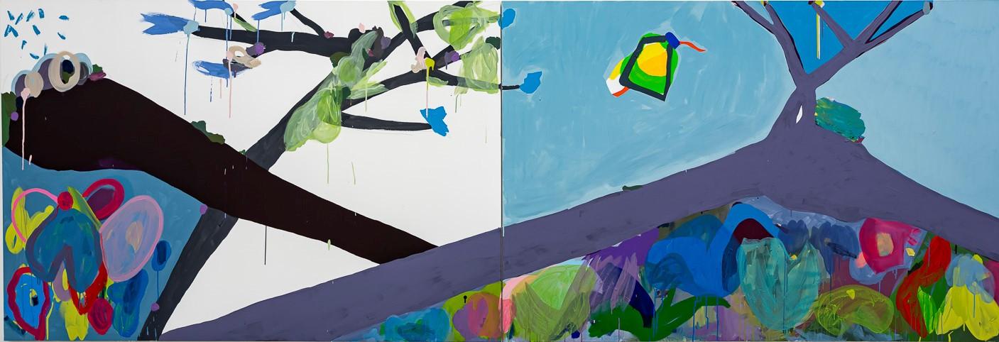 SÉRIE TRONCOS I DIPTICO.. Maria Lynch. 2020 130x380 cm