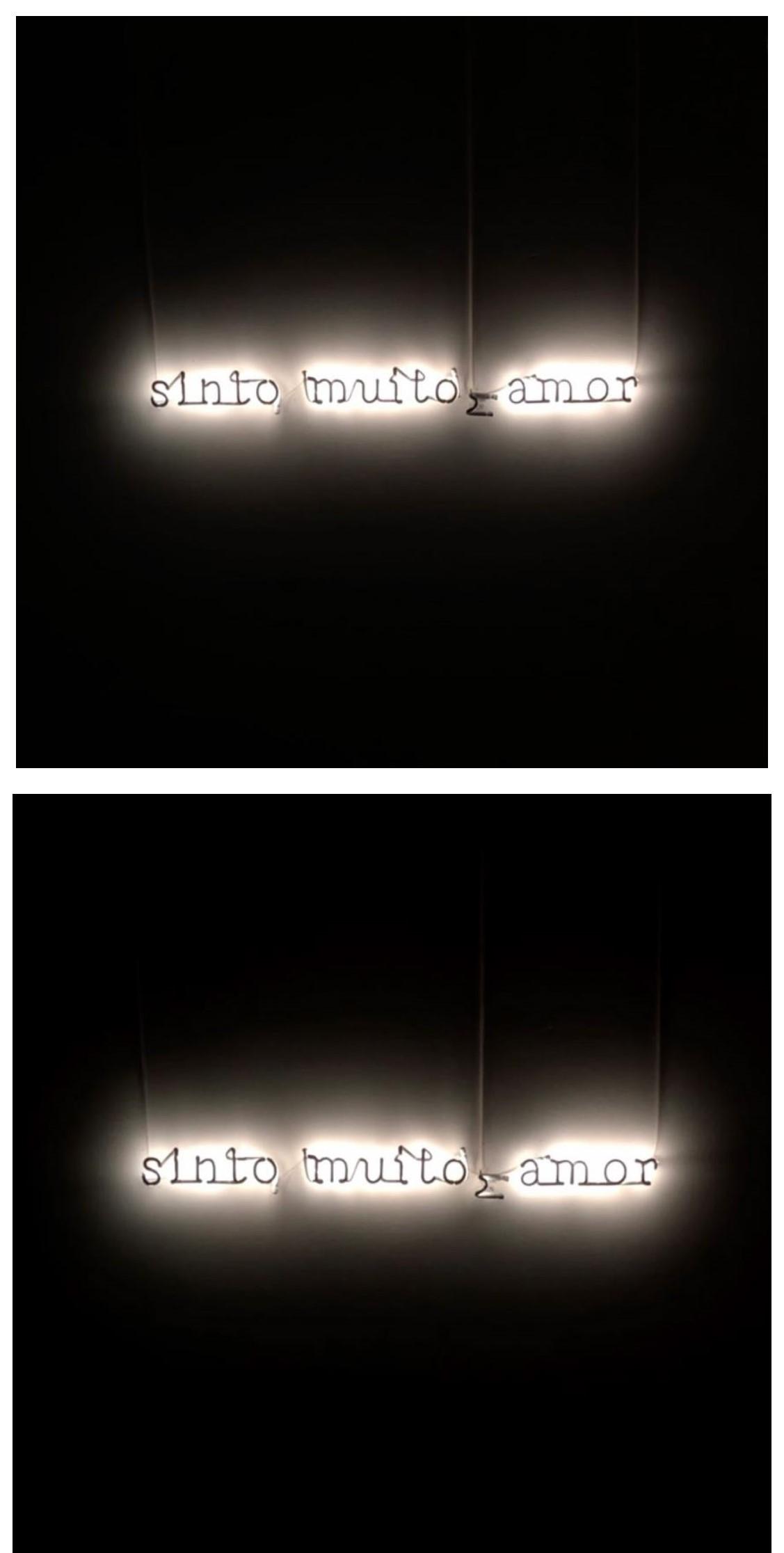 sinto muito amor, 2020 Neon com Pintura preta  10 x 80 cm PA1