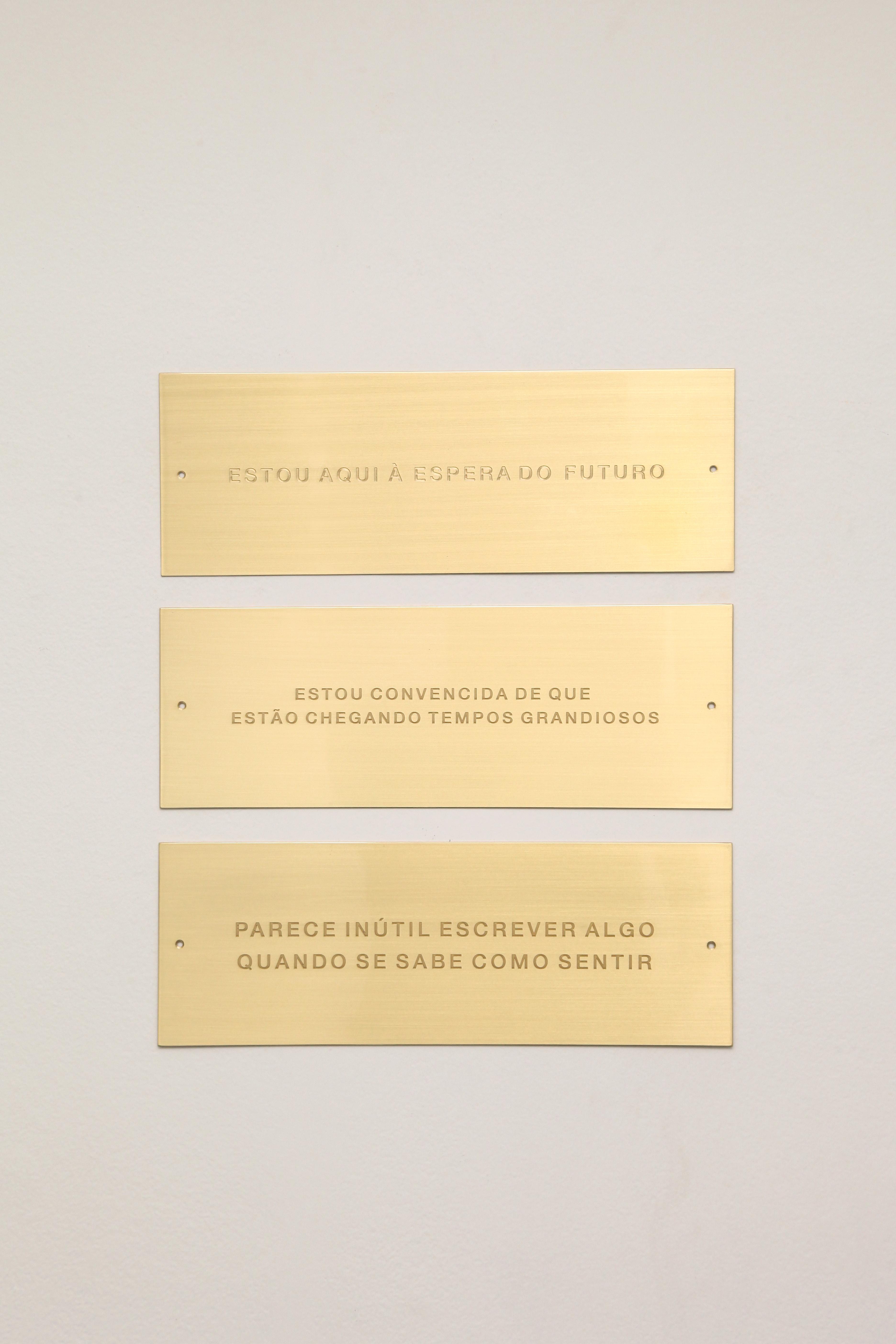 """série """"In Memoriam"""", 2020     10,5 x 30 cm cada  Placa em latão (políptico)  Edição de 3"""